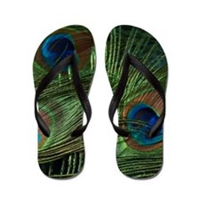 green feather square Flip Flops
