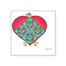 "Shielded Heart 10x10_all Square Sticker 3"" x 3"""