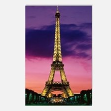 eiffel tower night lights Postcards (Package of 8)