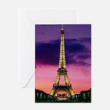 eiffel tower night lights Greeting Card