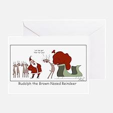Brown Nosed Reindeer Greeting Cards