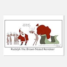 Brown Nosed Reindeer Postcards (Package Of 8)