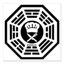"""600px-Chef_dharma_logo_l Square Car Magnet 3"""" x 3"""""""