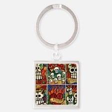 Day of the Dead Sugar Skulls Square Keychain
