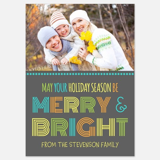 Colorful Merry And Bright Christmas 5X7 Flat Card