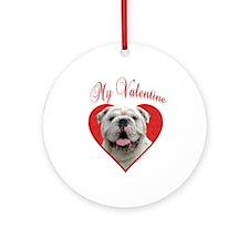 Bulldog Valentine Ornament (Round)
