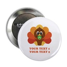 """Personalize Baby Turkey 2.25"""" Button (10 pack)"""