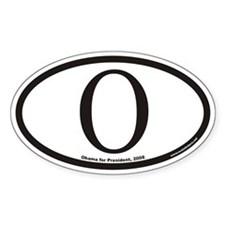 Obama For President O Euro Oval Decal