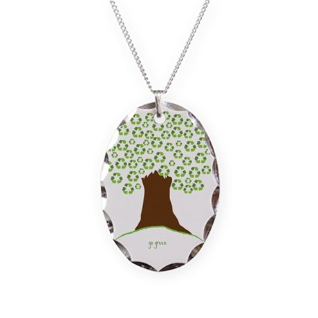 Tree Green Black Necklace Oval Charm
