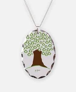Tree Green White Necklace
