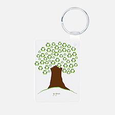 Tree Green White Keychains