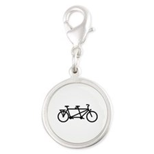 Tandem Bicycle Silver Round Charm
