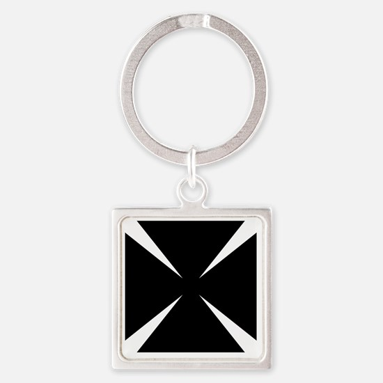 Cross Formee Pattee - Black Square Keychain