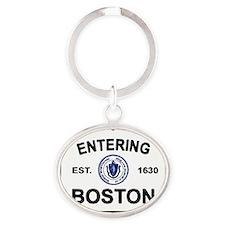 boston sign whites Oval Keychain