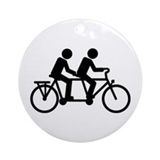 Tandem Bicycle bike Ornament (Round)