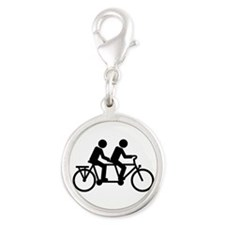 Tandem Bicycle bike Silver Round Charm