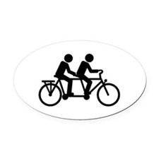 Tandem Bicycle bike Oval Car Magnet