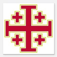 "Cross Potent - Jerusalem Square Car Magnet 3"" x 3"""