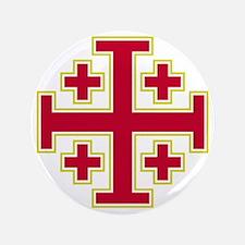 """Cross Potent - Jerusalem - Red-2 3.5"""" Button"""