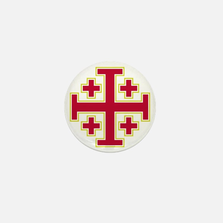 Cross Potent - Jerusalem - Red-2 Mini Button