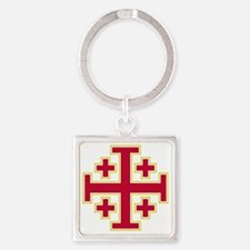 Cross Potent - Jerusalem - Red-2 Square Keychain