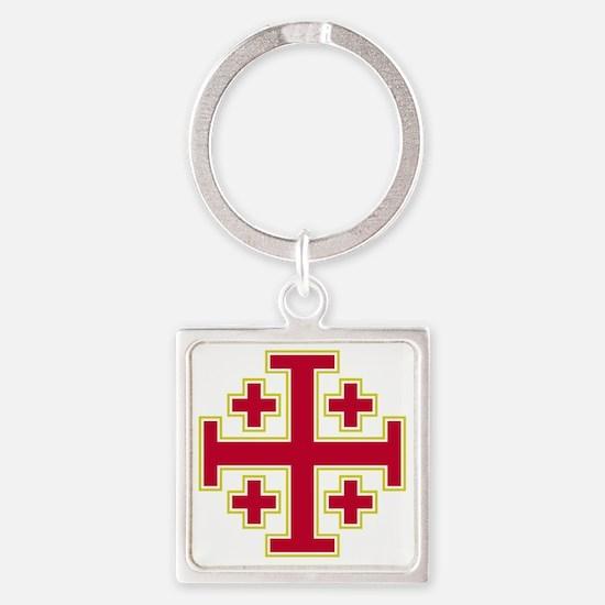 Cross Potent - Jerusalem - Red-2 Square Keychain
