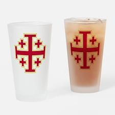Cross Potent - Jerusalem - Red-2 Drinking Glass
