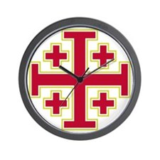 Cross Potent - Jerusalem - Red-2 Wall Clock