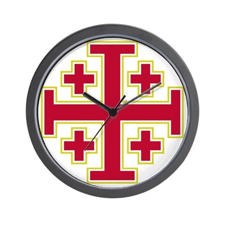 cross potent jerusalem red2 wall clock