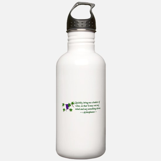 Aristophanes Wine Quote Water Bottle