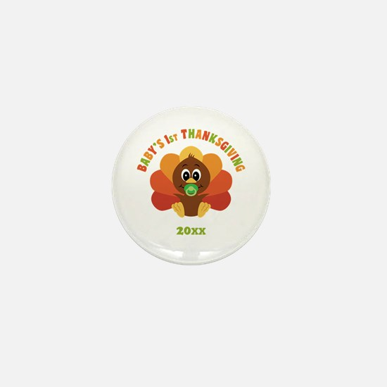 Personalize Babys First Thanksgiving Mini Button (
