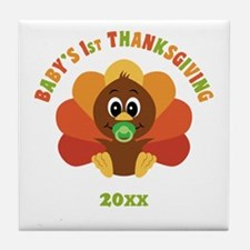 Personalize Babys First Thanksgiving Tile Coaster