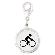 Cycling bike Silver Round Charm