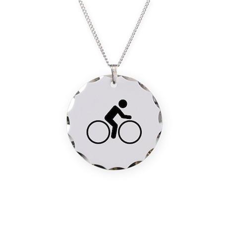 Cycling bike Necklace Circle Charm