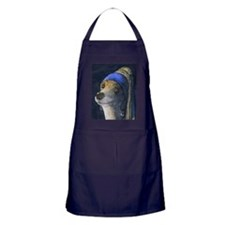 sq dog with a pearl earring Apron (dark)