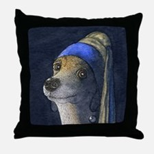 sq dog with a pearl earring Throw Pillow