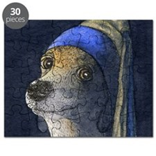 sq dog with a pearl earring Puzzle
