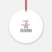 SF_10x10_apparel_LeftHeart_BlackRed Round Ornament