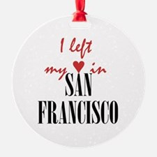 SF_10x10_apparel_LeftHeart_BlackRed Ornament