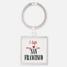 SF_10x10_apparel_LeftHeart_BlackRe Square Keychain