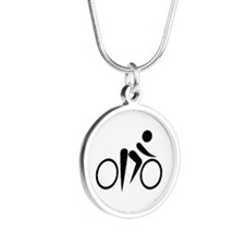 Bicycle Cycling Silver Round Necklace