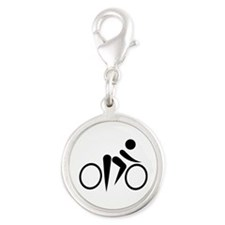 Bicycle Cycling Silver Round Charm