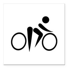"Bicycle Cycling Square Car Magnet 3"" x 3"""