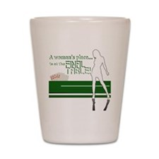 A womans place poker graphic Shot Glass