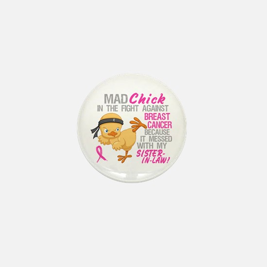 Mad Chick 3L Breast Cancer Mini Button