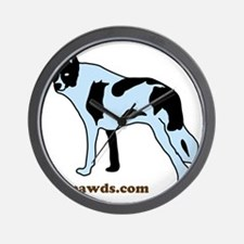 Tripawds.com Three Legged Cow Dog White Wall Clock