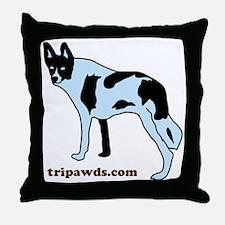 Tripawds.com Three Legged Cow Dog Whi Throw Pillow
