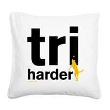 Tri Harder Flying Three Legge Square Canvas Pillow
