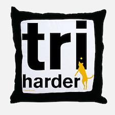 Tri Harder Flying Three Legged Dog Wh Throw Pillow