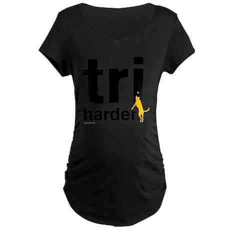 Tri Harder Flying Three Leg Maternity Dark T-Shirt